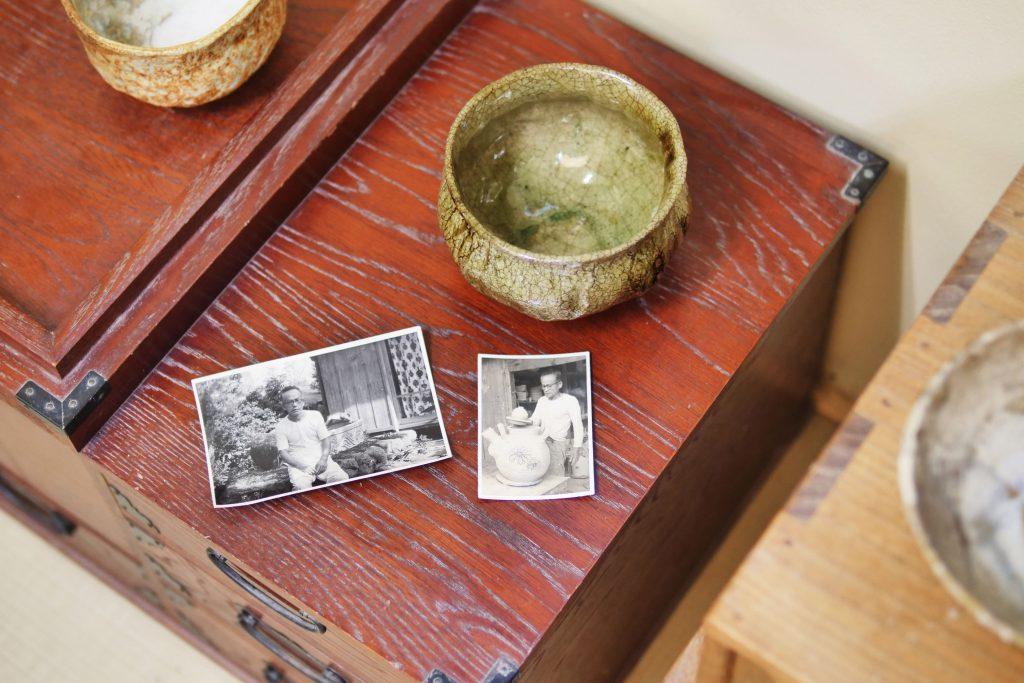 Historische Chawan von KATO Juudai und alte Fotos von KATO Juudai
